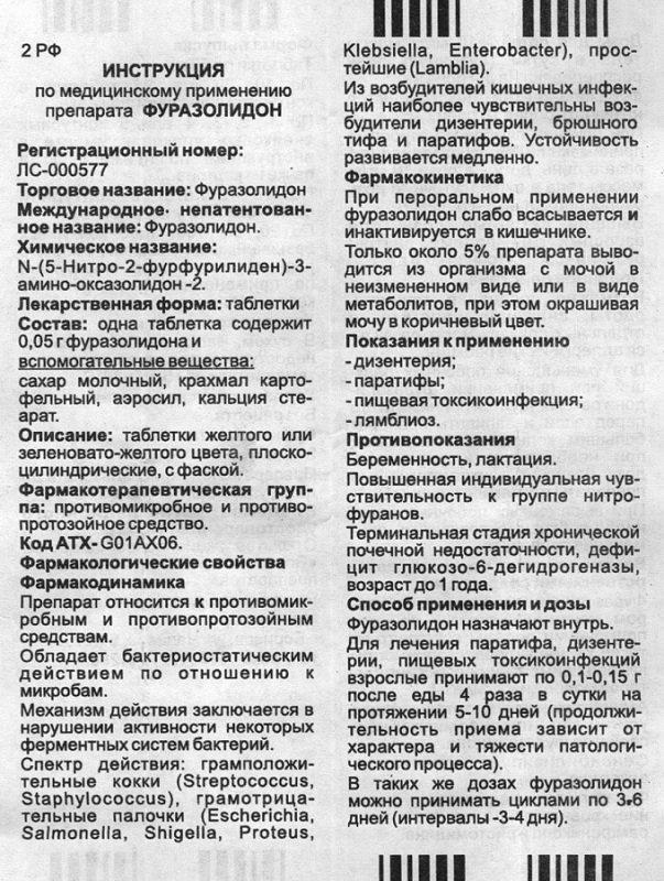 Фуразолидон инструкция