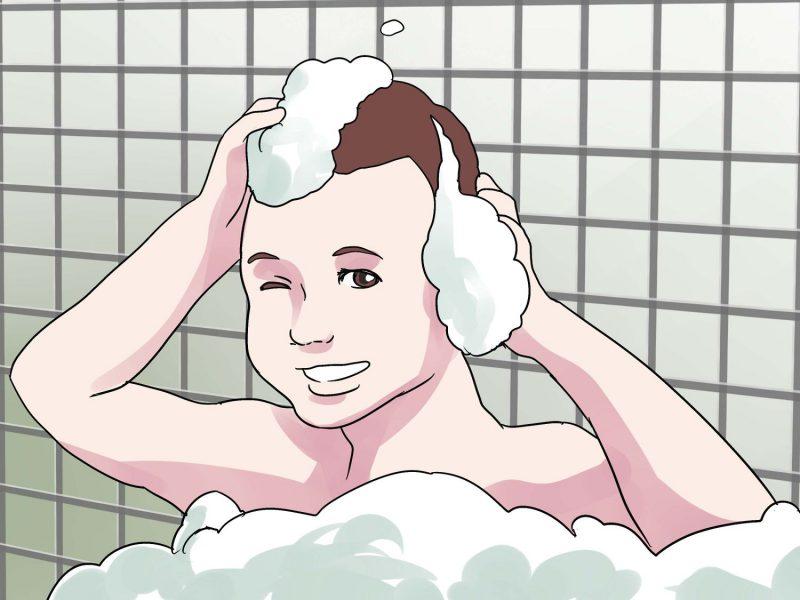 намыливание шампуни на волосы